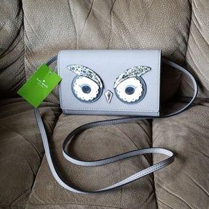 🦉NWT Kate Spade small grey owl crossbody handbag
